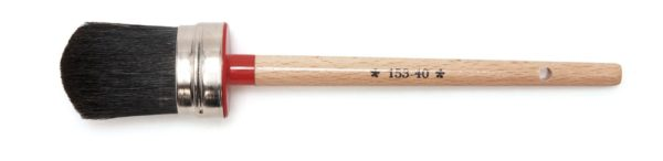 Ovale kwast, zwart haar, rode punt, 40 mm